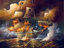 Fine-Oil-font-b-painting-b-font-seascape-Burning-font-b-pirate-b-font-font-b